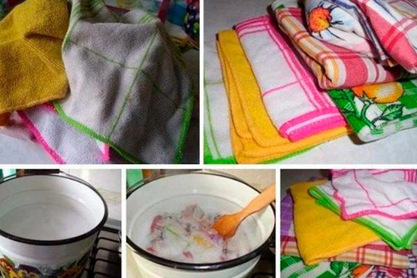 Эффективный и быстрый способ отбеливания кухонных полотенец