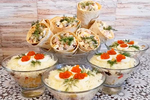 2 праздничных салата с нестандартной подачей